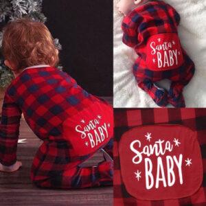 Navidad-bebe-regalos-de-navidad-rojo-a-cuadros-mameluco-mono-niños niñas ropa en oferta 4