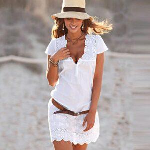ropa en oferta vestido encaje blanco en V